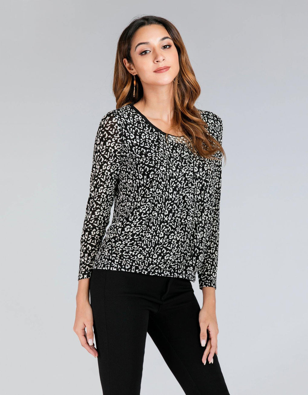 Cheetah Print Drape Top