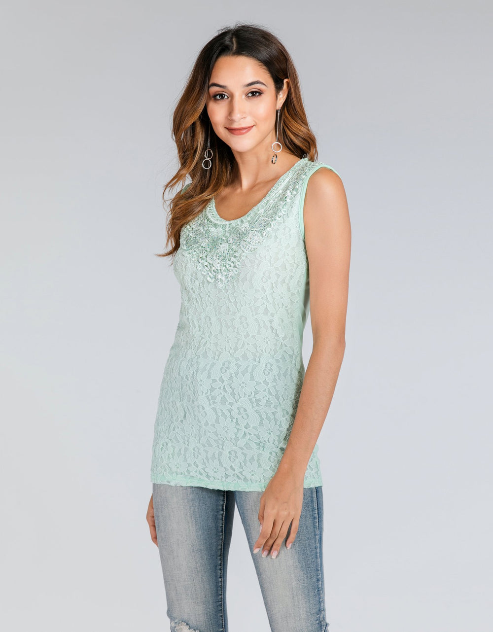 Sleeveless Embroided Top