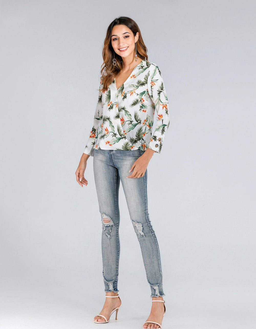 Floral Wrap Over Shirt