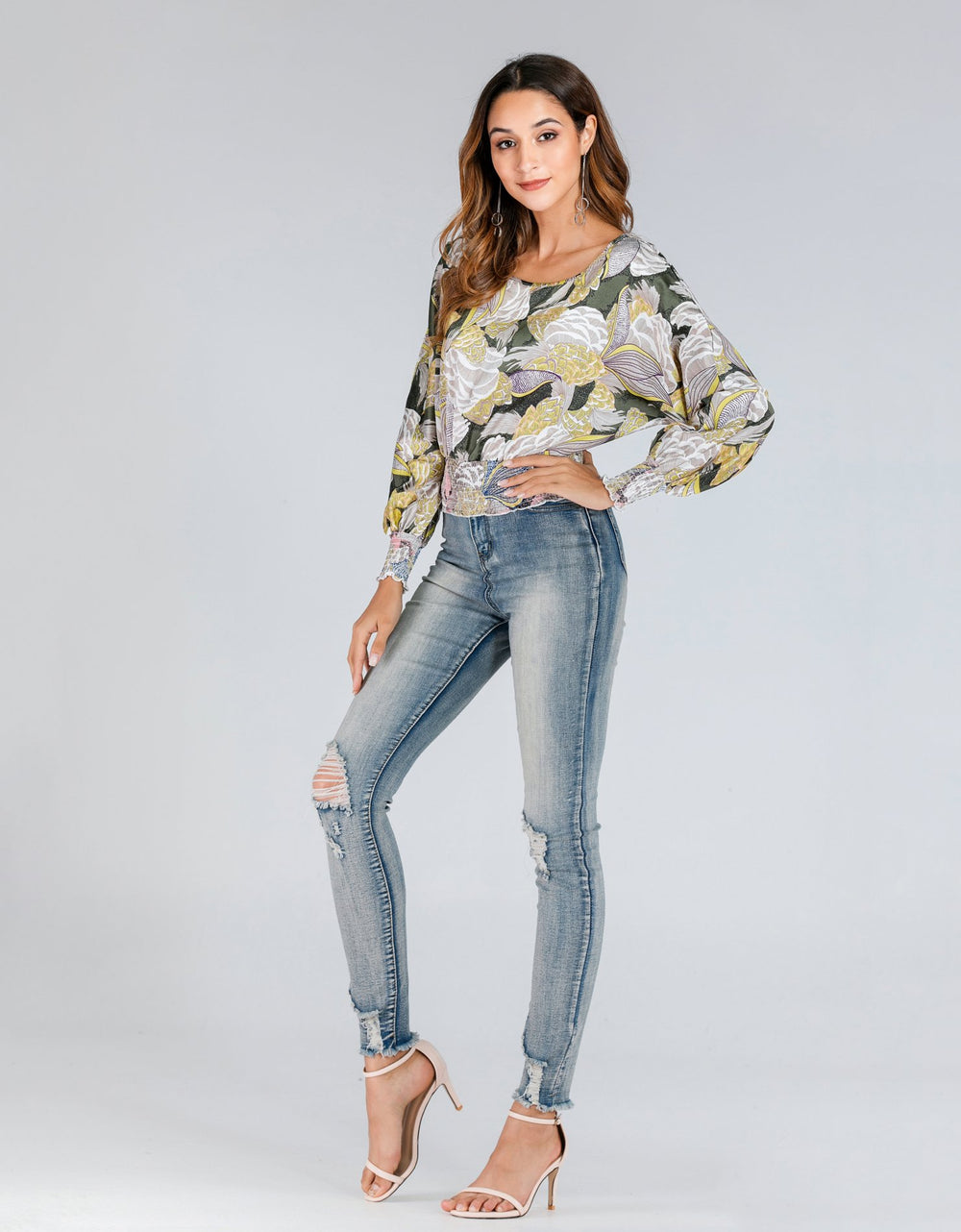 Long Sleeved Floral Blouse