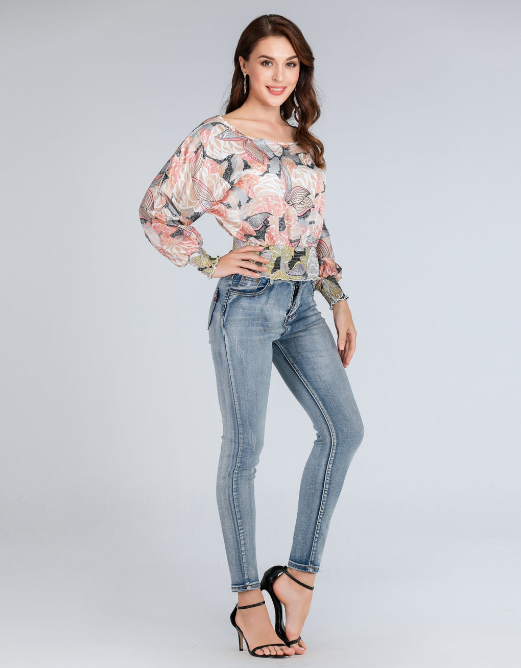 Long-sleeved Floral Blouse