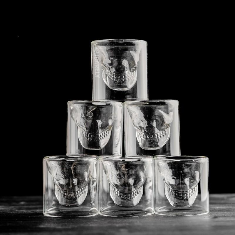 Skull Crystal Glass Set - whiskey shot drink double - Udarely drinkware glassware barware cocktail mocktail coffee tea