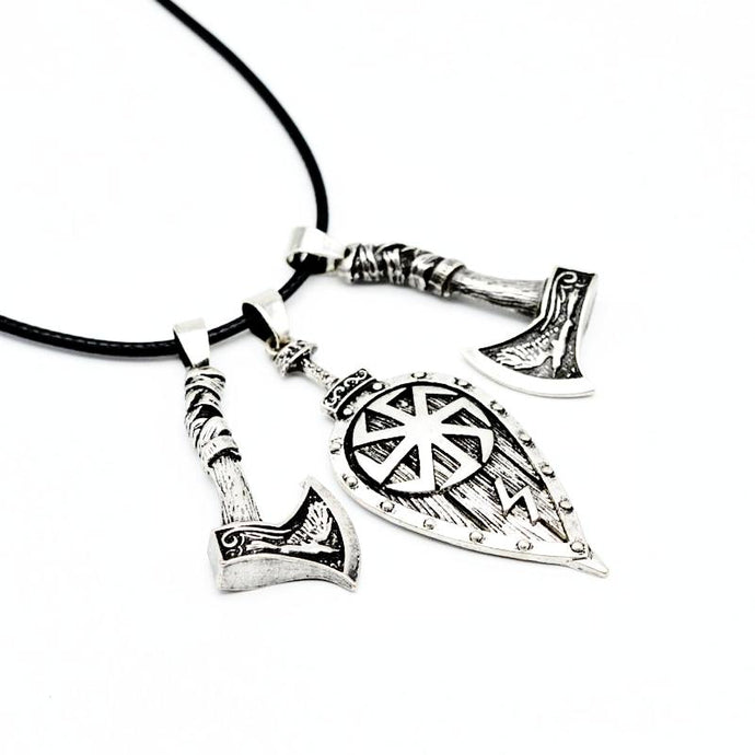 Shield and Axe Necklace