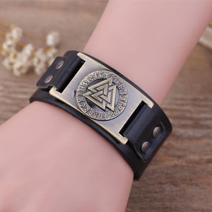 Valknut Leather Bracelet