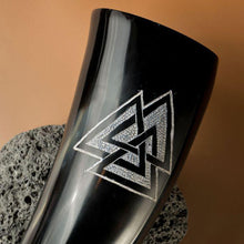 Load image into Gallery viewer, Valknut Drinking Horn