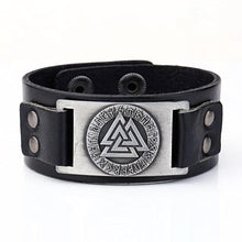Load image into Gallery viewer, Valknut Leather Bracelet