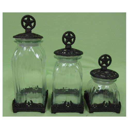 Cast Iron Base Star Top Clear Glass 3 Canister Set