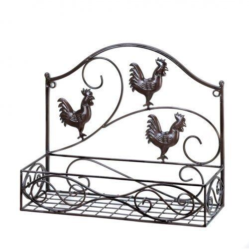 Charming Country Rooster Basket Wall Rack (pack of 1 EA)