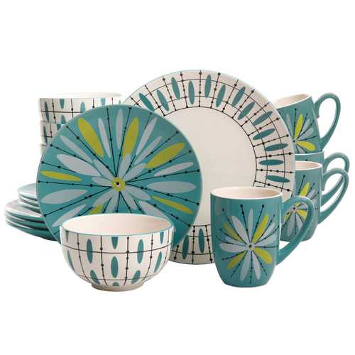 Studio California Luminescent Anza 16-Piece Dinnerware Set in Teal