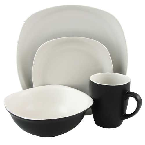 Gibson Home Tristen 16 Piece Soft Square Dinnerware Set in Matte White and Black
