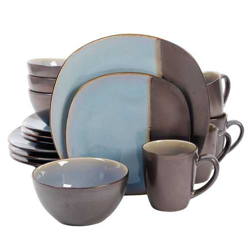 Gibson Volterra 16 piece Soft Square Dinnerware Set, Teal