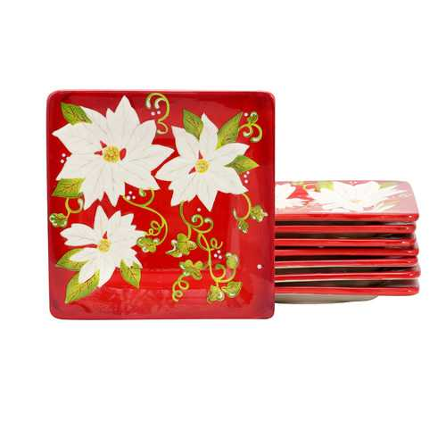 Laurie Gates Pleasant Poinsettia 8.5 inch Dessert Plate Set, Set of 8