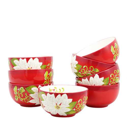 Laurie Gates Pleasant Poinsettia 5.5 inch Bowl Set, Set of 8