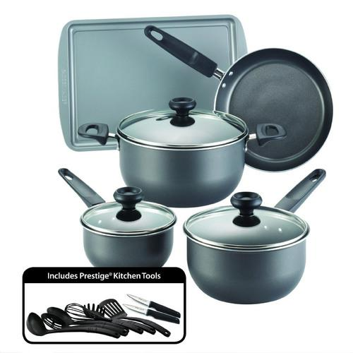 Farberware Dishwasher Safe High Performance Nonstick 16-Piece Cookware Set, Charcoal