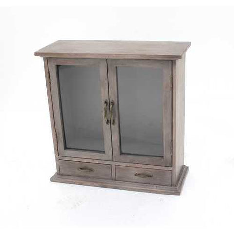 Rustic Wall Mounted Wooden Cabinet with 2 Drawers