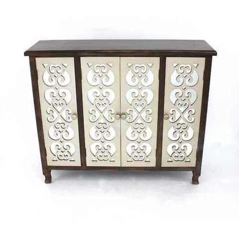 Traditional Accent Wooden Cabinet with 4 Doors