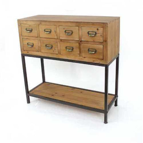 Industrial Wooden Filing Cabinet with 8 Drawers