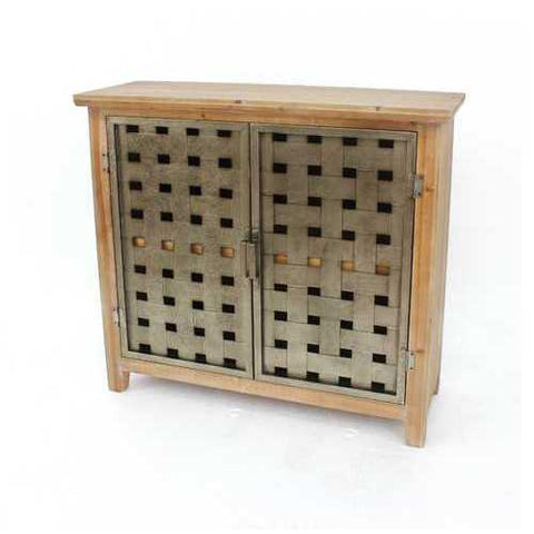 Industrial Wooden Cabinet with Metal Lattice Doors