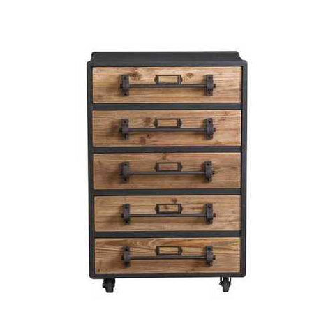 Quaint Industrial 5-Drawer Wooden Chest with Lockable Casters