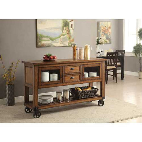 Kitchen Cart, Distress Chestnut - Poplar Wood, Mdf, Qiu Woo Distress Chestnut