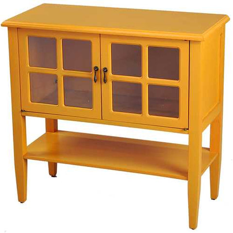 2-Door Console Cabinet W/ Paned Glass Inserts And Shelf - Mdf, Wood Clear Glass In Orange