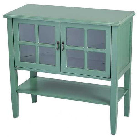 2-Door Console Cabinet W/ Paned Glass Inserts And Shelf - Mdf, Wood Clear Glass In Dark Celadon