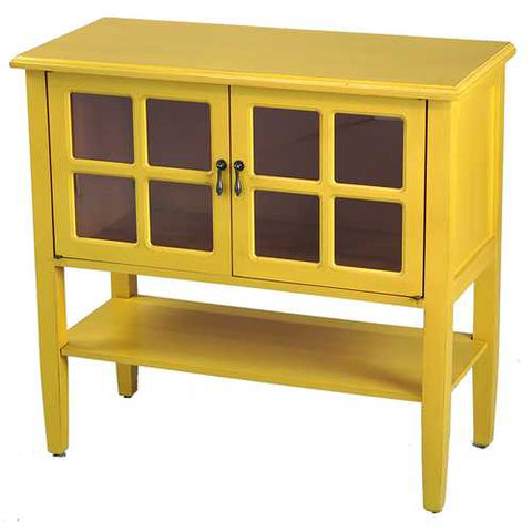 2-Door Console Cabinet W/ Paned Glass Inserts And Shelf - Mdf, Wood Clear Glass In Yellow