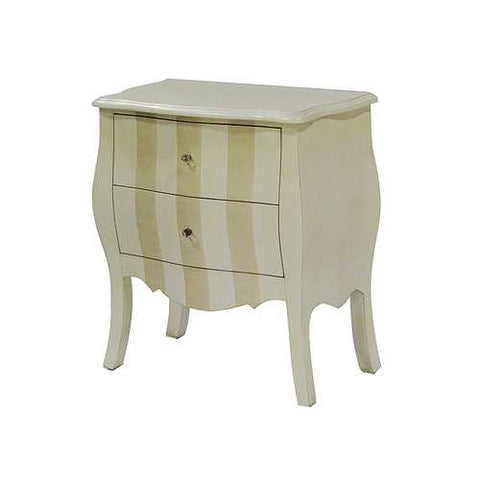 2-Drawer Bombay Cabinet - Mdf, Wood In Beige And Cream Stripe