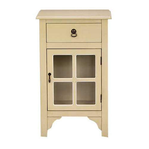 1-Drawer, 1-Door Accent Cabinet W/ Paned Glass Inserts - Mdf, Wood Clear Glass In Beige