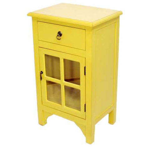 1-Drawer, 1-Door Accent Cabinet W/ Paned Glass Inserts - Mdf, Wood Clear Glass In Yellow