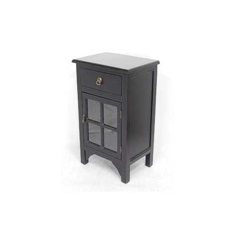 1-Drawer, 1-Door Accent Cabinet W/ Paned Glass Inserts - Mdf, Wood Clear Glass In Black