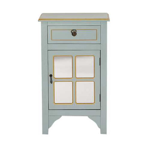 1-Drawer, 1-Door Accent Cabinet W/ Paned Mirror Inserts - Mdf, Wood Mirrored Glass In Light Blue W/ Gold