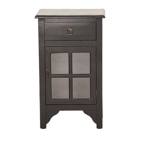 1-Drawer, 1-Door Accent Cabinet W/ Paned Mirror Inserts - Mdf, Wood Mirrored Glass In Black