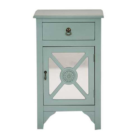1-Drawer, 1-Door Accent Cabinet W/ Trellis Mirror Inserts - Mdf, Wood Mirrored Glass In Turquoise