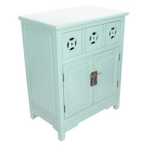 1-Drawer, 2-Door Sideboard W/ Circle Link Cutouts - Mdf, Wood In Aqua