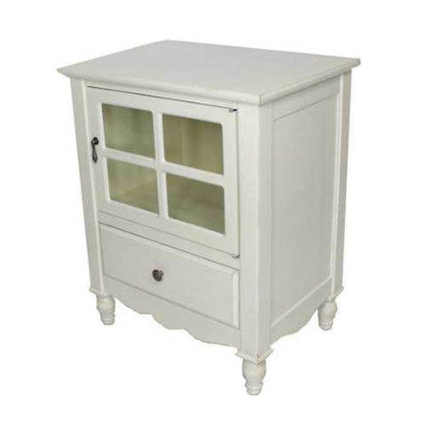 1-Door, 1-Drawer Small Accent Cabinet W/ Paned Glass Inserts - Mdf, Wood Clear Glass In Antique White
