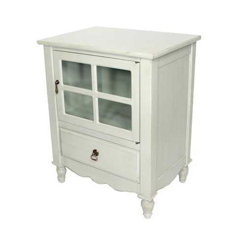 1-Door, 1-Drawer Small Accent Cabinet W/ Paned Glass Inserts - Mdf, Wood Clear Glass In Light Sage