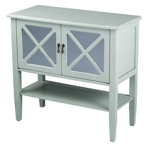 2-Door Console Cabinet W/ Lattice Mirror Inserts And Shelf - Mdf, Wood Clear Glass In Light Sage
