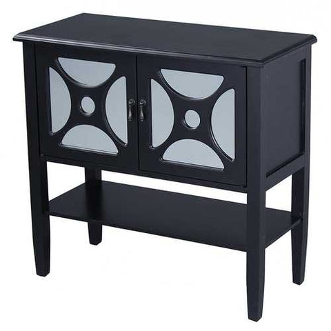 2-Door Console Cabinet W/ Circle Link Mirror Inserts And Shelf - Mdf, Wood Mirrored Glass In Black