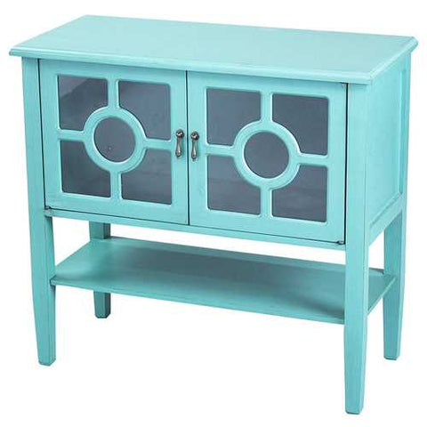2-Door Console Cabinet W/ Lattice Glass Inserts And Shelf - Mdf, Wood Clear Glass In Turquoise