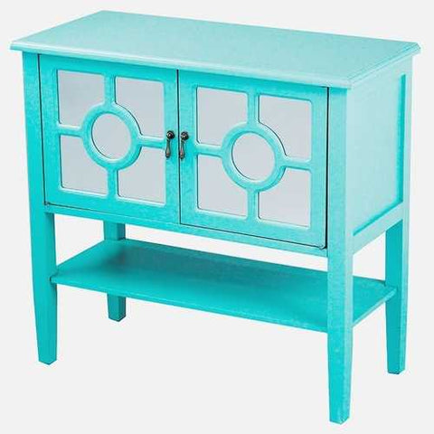 2-Door Console Cabinet W/ Lattice Mirror Inserts And Shelf - Mdf, Wood Mirrored Glass In Turquoise