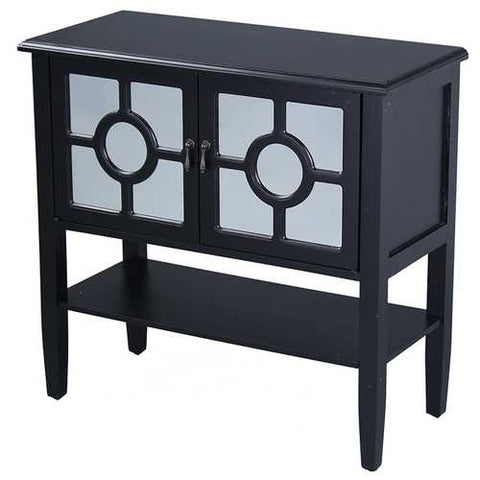 2-Door Console Cabinet W/ Lattice Mirror Inserts And Shelf - Mdf, Wood Mirrored Glass In Black