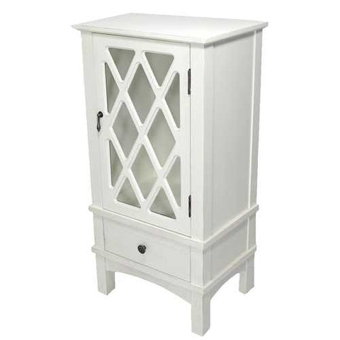1-Door, 1-Drawer Accent Cabinet W/ Lattice Glass Inserts - Mdf, Wood Clear Glass In Antique White