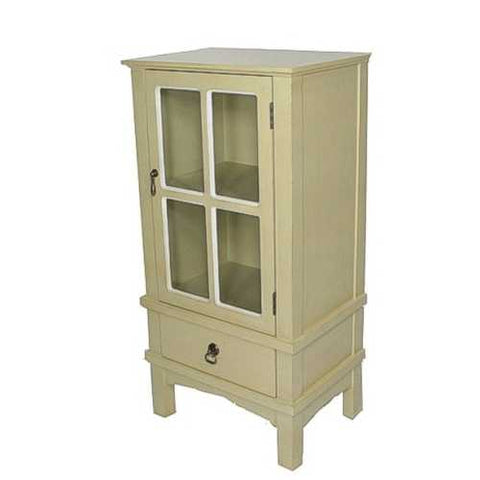 1-Door, 1-Drawer Accent Cabinet W/ Paned Glass Inserts - Mdf, Wood Clear Glass In Beige