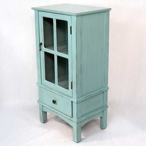 1-Door, 1-Drawer Accent Cabinet W/ Paned Glass Inserts - Mdf, Wood Clear Glass In Aqua