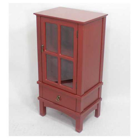 1-Door, 1-Drawer Accent Cabinet W/ Paned Glass Inserts - Mdf, Wood Clear Glass In Red