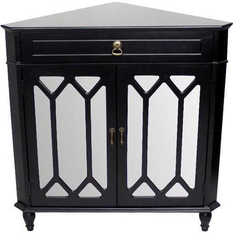 1-Drawer, 2-Door Corner Cabinet W/Hexagonal Mirror Inserts - Mdf, Wood Mirrored Glass In Black