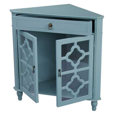 1-Drawer, 2-Door Corner Cabinet W/Quatrefoil Glass Inserts - Mdf, Wood Clear Glass In Turquoise