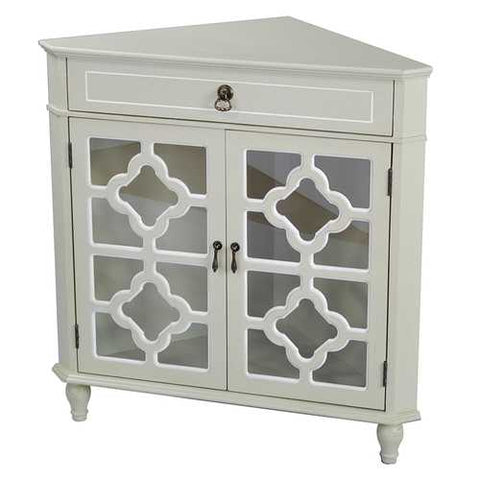 1-Drawer, 2-Door Corner Cabinet W/Quatrefoil Glass Inserts - Mdf, Wood Clear Glass In Beige