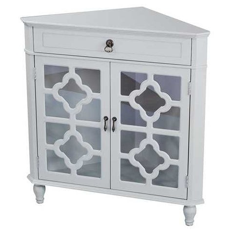 1-Drawer, 2-Door Corner Cabinet W/Quatrefoil Glass Inserts - Mdf, Wood Clear Glass In Light Sage